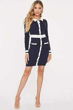 See Collared Long Sleeve Button Down Dress in Navy