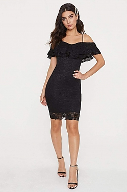 See Long Sleeve Sparkle Dress With Low Draped Back in Black