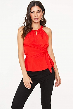 See Wrap Tied Peplum Halter Top in Tomato