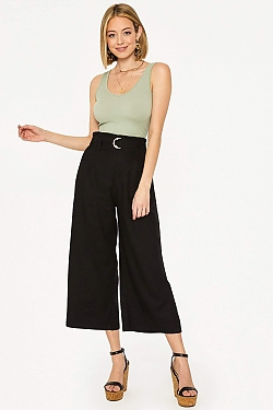 See Belted Cropped Pant in Black