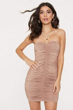 See Strapless Ruched Mini Dress in Mocha