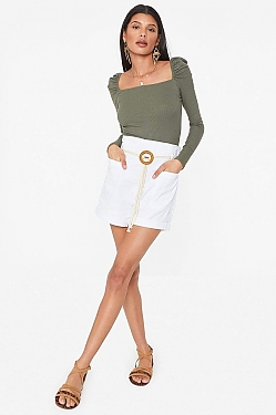 See Ultra High Waisted Belted Short in Taupe in White