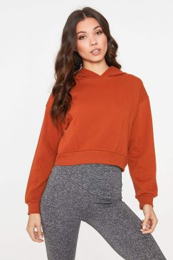 See Cropped Fitted Hoodie in Rust