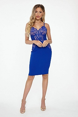 See Lace Detailed Bustier Midi Dress in Royal/Nude