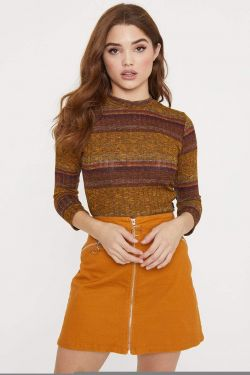 See Multi Striped Knit Crop Top in Sun Baked Combo