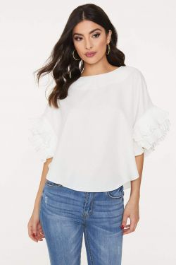 See Pleated Ruffle Sleeve Blouse in White