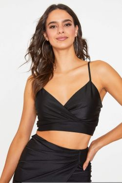 See Cropped Surplice Cami Top in Black