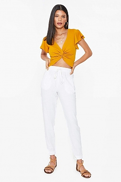 See Relaxed Linen Cropped Pant in Black in White