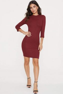 See Long Sleeve Dress With Back Keyhole Detail in Burgundy