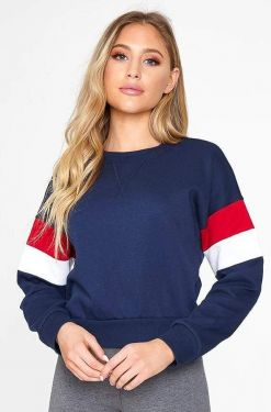 See Striped Sleeve Relaxed Pull Over in Eclipse