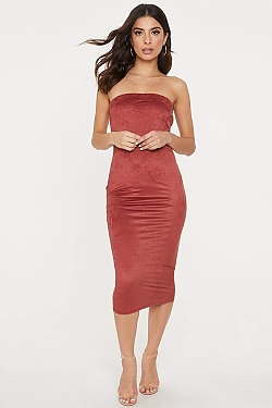 See Strapless Suede Midi Bodycon Dress in Terracotta