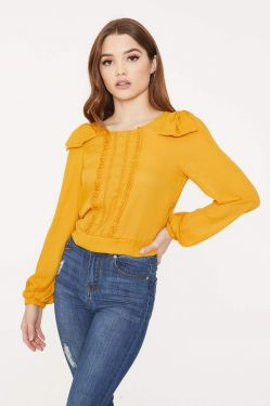 See Shoulder Bow Long Sleeve Blouse in Mustard
