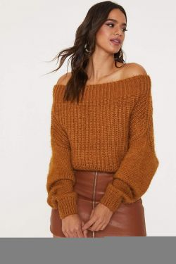 See Oversized Off-The-Shoulder Knit Sweater in Brown