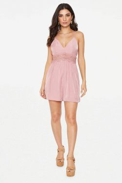See Dainty Crochet Trimmed Romper in Mauve
