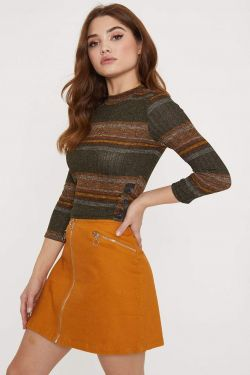 See Multi Striped Knit Crop Top in Vintage Olive Combo