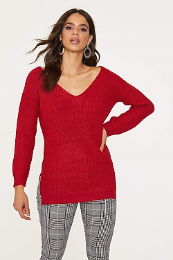 See Criss Cross Back Oversized Sweater in Deep Red