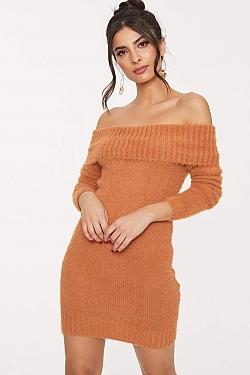 See Midi Strapless Sweater Dress in Cinnamon