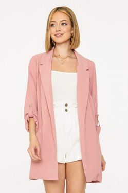 See Button Cuff Extended Blazer in Pink