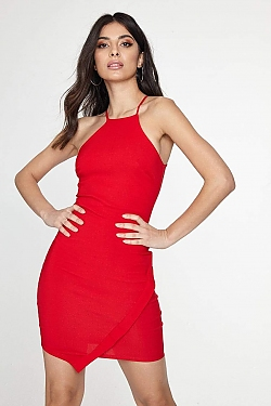 See High Square Neck Cami Dress with Asymetrical Hem Overlay in Red