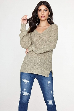 See Knit Oversized Sweater With Braided Back Detail in Natural