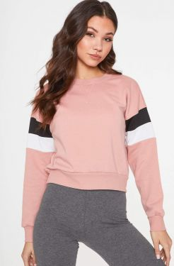 See Striped Sleeve Relaxed Pull Over in Mauve