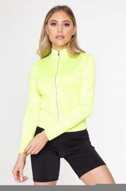 See Neon Sheen Zip Up Long Sleeve in Neon Yellow