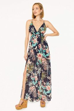 See Floral Criss Cross Maxi Dress in Navy