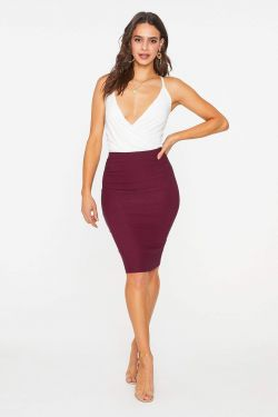 See Classic Midi Pencil Skirt in Merlot