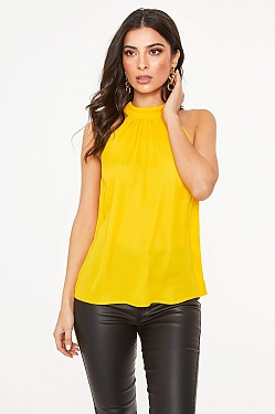 See Pleated Halter Top Blouse in Mango