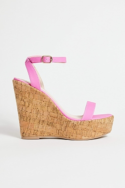 See Cork Platform Wedge In Black in Pink