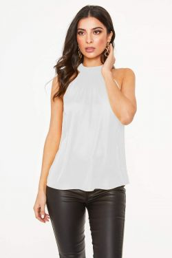 See Pleated Halter Top Blouse in Off White