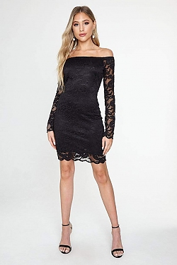 See Off-the-Shoulder All Over Lace Dress in Black