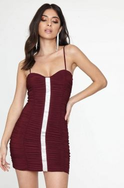 See Ruched Mini Cami Dress With Rhinestone Studded Center in Wine