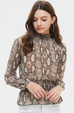 See Snake Print Shirred Detail Blouse in Brown