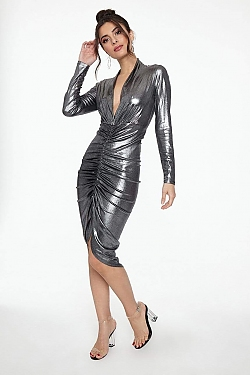 See Long Sleeve Plunging Neck Ruched Front High Low Dress in Silver