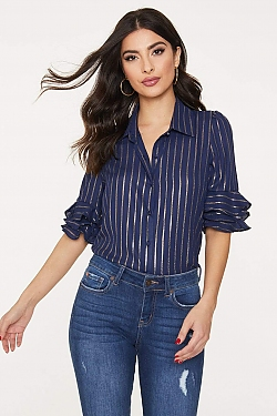 See Gold Striped Shirt With Ruffle Trim Sleeve in Navy