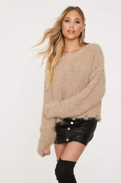 See Distressed Cable Knit Sweater in Nude