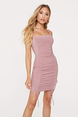 See Ruched Tie Mini Dress in Mauve