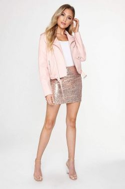 See Sequin Mini Skirt in Rosegold