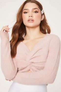 See Cropped Twist Front Fuzzy Sweater in Pink