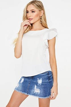 See Frill Sleeve Lightweight Blouse in Off White