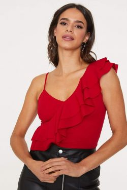 See Asymmetrical Cami Ruffle Top in Red