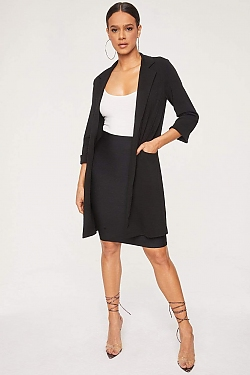 See Open Front Duster Coat in Black
