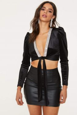 See Velvet Cropped Wrap Top With Rhinestone Trimmed Neck in Black