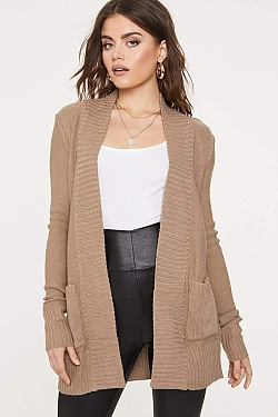 See Open Front Knit Cardigan in Khaki