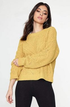See Relaxed Super Soft Knit Sweater in Mustard