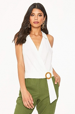 See Collared Belted Wrap Top in Navy in Off White