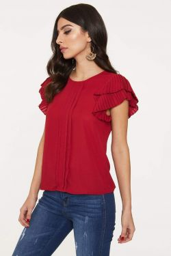 See Pleated Blouse with Pleated Ruffle Frill Sleeve in Crimson Red