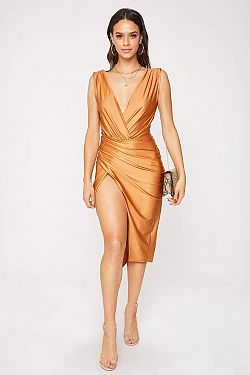 See Wrapped Front Plunging Neck Midi Dress in Gold