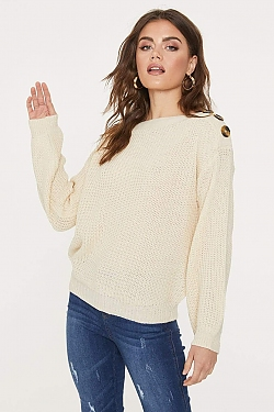 See Button Shoulder Knit Sweater in Oatmeal